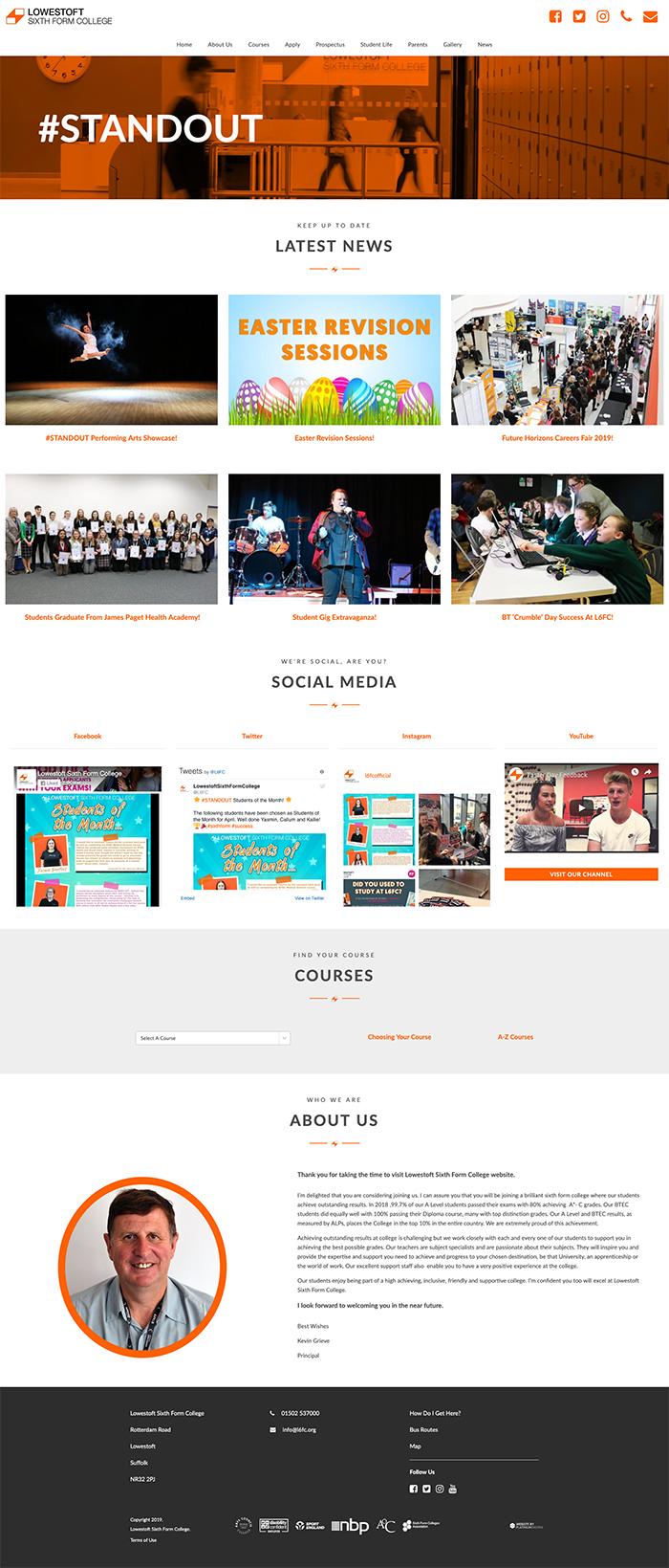 Lowestoft Sixth Form College Web Design